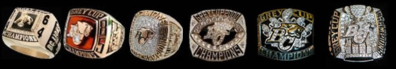 All 6 BC Lions Grey Cup Rings